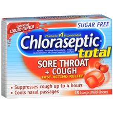 Chloraseptic Total Sore Throat + Cough Lozenges Sugar Free Cherryhttp://www.walgreens.com/store/c/chloraseptic-total-sore-throat-%2b-cough-lozenges-sugar-free-cherry/ID=prod2590417-product