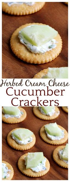 These crackers are the perfect appetizer for Spring! The herbed cream cheese is delicious with the fresh cucumber! They are a fun spin on classic cream cheese and cucumber sandwiches in cracker form!