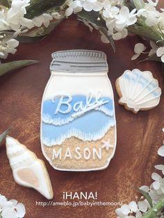 [iHANA!] mason jar cookie Cut Out Cookies, Fun Cookies, Mason Jar Cookies, Mason Jars, Beach Theme Food, Hawaiian Cookies, Royal Icing Decorated Cookies, Wedding Shower Cookies, New Years Cookies