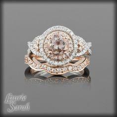 why is everyone copying my bridal set I designed? lol. Morganite Engagement Ring