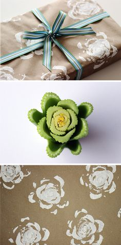 Celery rose wrapping paper