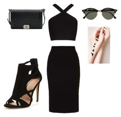 """""""Glamour👠"""" by elinaelina-1 ❤ liked on Polyvore featuring BCBGMAXAZRIA, even&odd, Chanel and Ray-Ban"""