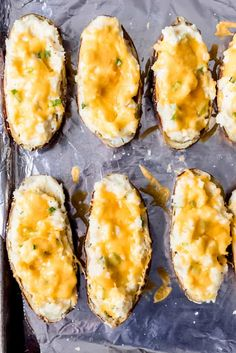 """With halved potatoes filled with loaded mashed potatoes and cheese, this Twice Baked Potatoes recipe can serve as either a meatless main dish or a side. It combines all of your favorite baked potato toppings in a fun """"twice baked"""" way. #potatoes #baked #mashed #sidedish #easy #recipe #best #withcreamcheese #loaded Scalloped Potatoes Au Gratin, Loaded Mashed Potatoes, Twice Baked Potatoes, Baked Potato Toppings, Baked Potato Recipes, Deviled Egg Potato Salad, Dried Potatoes, Potato Onion, Potato Skins"""