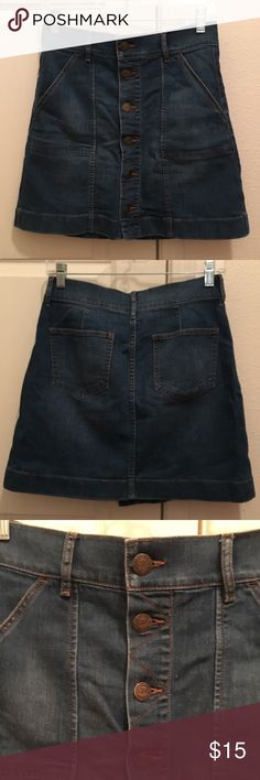 Cute denim mini skirt from The Loft! Denim mini skirt with button down front. Medium blue denim wash. Lightly used, great condition! LOFT Skirts Mini
