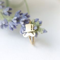 Mustache and Top hat ring in gold / adjustable ring by laonato, $14.00