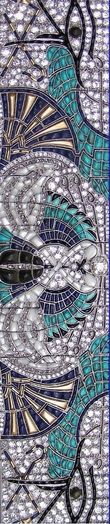 Best Diamond Bracelets  : Closeup  An Art Deco Egyptian Revival platinum gold enamel diamond and onyx