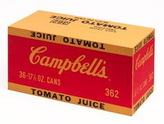 Andy Warhol Campbell's Tomato Juice Box, 1964 Silkscreen ink and housepaint on plywood Canned Tomato Juice, Tomato Soup, Andy Warhol Art, Pop Art Movement, Power Pop, Popular Art, Popular Culture, Computer Art, How To Can Tomatoes