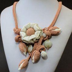 Сrochet flower design Oya necklace Flower Crochet Necklace image 4
