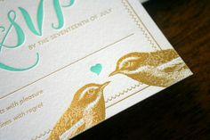 Elegant Bird Gold Foil + Letterpress Wedding Invitation