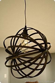 DIY orb light fixture made from wooden embroidery hoops from Sarah @ Thrifty Decor Chick