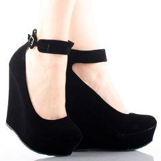 Black Suede Ankle Strap Round Toe Womens High Heel Platform