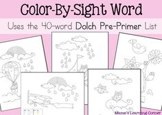 5 page color by sight word worksheets using 40 word dolch pre - Free Color Word Worksheets