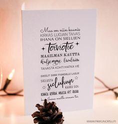 Maa on niin kaunis Christmas Cards, Xmas, Card Ideas, Place Cards, Place Card Holders, Adidas, Diy, Christmas E Cards, Natal