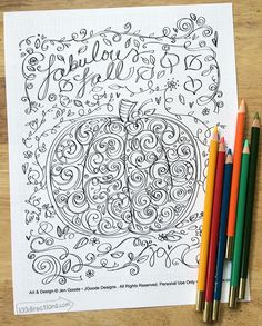 Free Printable Autumn Pumpkin Coloring Page by Jen Goode