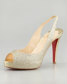 75f9f62485f1 No Prive Glittered Slingback Red Sole Pump by Christian Louboutin at Neiman  Marcus. Christian Louboutin