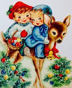 Vintage Christmas Card. Retro Christmas Card. Baby Deer. Christmas Babies.