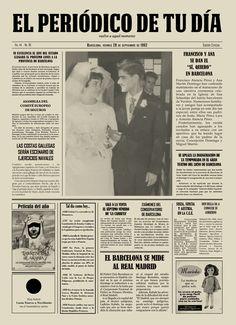 """Francisco y Ana se dan el """"Sí, quiero"""" en Barcelona. El Periódico de Tu Día se ha convertido en el regalo original del evento. Es el detalle idóneo para cualquier ocasión: nacimientos, cumpleaños, bautizos, aniversarios, bodas, bodas de oro, bodas de plata, día del padre, día de la madre, san valentín y mucho más. Encuentra el original gift que tanto estás buscando en El Periódico de Tu Día."""