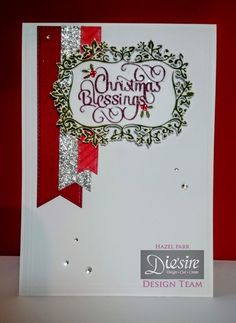 Hazel Parr - Die'sire Classiques Christmas Only Words  - CAS dual die card - Die'sire Classiques Christmas Blessings die - Die'sire Prestige O'Holy Night - Sheena's Stamping card - Crafters Companion The Big Score A3 Scoring Board - red and green ink - Collal Tacky Glue - Collall 3D Glue Gel - #crafterscompanion #Christmas
