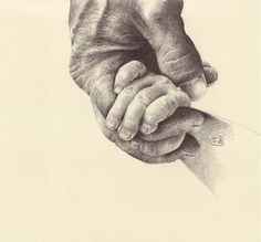 holding hands pencil drawing