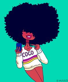LOI-LOI : Photo Black Girl Cartoon, Black Girl Art, Black Women Art, Art Girl, Black Girls, African American Art, African Art, Tumbrl Girls, Natural Hair Art