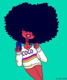 LOI-LOI : Photo Black Girl Cartoon, Black Girl Art, Black Women Art, Art Girl, Black Girls, African American Art, African Art, Black Art Pictures, Natural Hair Art