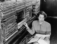 "Pioneering Argonne computer scientist Jean F. Hall works on AVIDAC, Argonne's first digital computer, which began operation in January 1953. AVIDAC stands for ""Argonne Version of the Institute's Digital Automatic Computer"" and was based on the IAS architecture developed by John von Neumann."