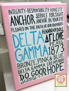 Delta Gamma Sorority Canvas small by SREdesign on Etsy, $18.00