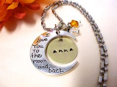 Personalized Moon Necklace Hand Stamped Charm by CharmAccents