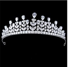 1.75 Inch Height Vintage Inspired White Clear CZ Princess Leaf Shaped Tear Drop &Marquise Cubic Zircon Wedding Crown