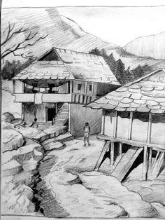PENCIL DRAWINGS Pencil Shading Scenery, Pencil Sketches Landscape, Drawing Scenery, Landscape Drawings, Art Drawings For Kids, Art Drawings Sketches, Cool Drawings, Wheat Drawing, African Drawings