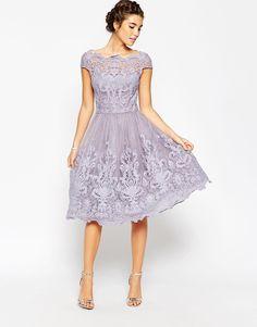 Image 4 ofChi Chi London Premium Lace Midi Prom Dress with Bardot Neck