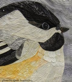 close up of Winter Chickadee by Diane Hansen. First Place, Applique-Small, 2015 AZQG.  Photo by Quilt Inspiration.