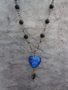 Homemade necklace / ladies jewelry / blue by JHFWBeadsAndFindings