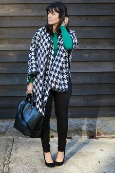 Houndstooth poncho,