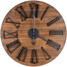 Round Natural Wood Metal Wall Clock ($70) ❤ liked on Polyvore featuring home, home decor, clocks, round clock, circular clock, round wall clock, metal home decor and wood clock