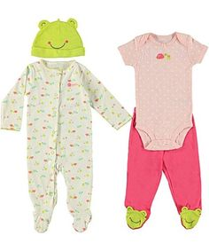 Cute cute! Carter's baby girl Frog and Turtle 4 piece set---sleeper, bodysuit, pants, hat