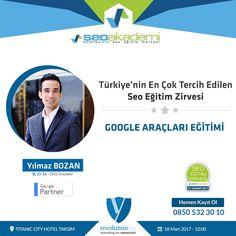 Eğitmenimiz Yılmaz Bozan 17 - 18 Mart tarihlerindeki Seo Eğitim Zirvesi'nde Google Araçları Eğitimi verecektir. Kayıt olmak için: www.seoegitimzirvesi.com www.seoakademi.com.tr