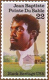 "Jean Baptiste Point du Sable is regarded as the first permanent resident of what became Chicago, Illinois. Point du Sable has become known as the ""Founder of Chicago"". Today In History, Black History Month, Jean Baptiste, We Are The World, African American History, Stamp Collecting, History Facts, Black People, Real People"