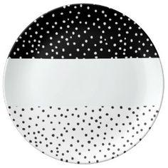 Modelo de lunares blanco negro de la acuarela del plato de cerámica