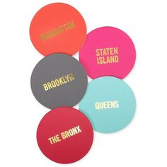 Live Colorfully Borough Coasters ($20) ❤ liked on Polyvore featuring home, kitchen & dining, bar tools, glass coasters and kate spade