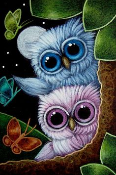 Diamond Painting Pink and Blue Baby Owls Kit Owl Bird, Bird Art, Pet Birds, Owl Pictures, Mosaic Pictures, Beautiful Owl, Owl Crafts, Illustration, Baby Owls