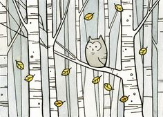 Owl & Birch Trees via Etsy. #owl #illustration