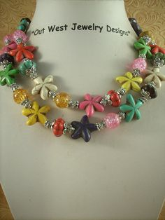 Cowgirl Necklace Set  Chunky Multicolored by Outwestjewelry, $46.95