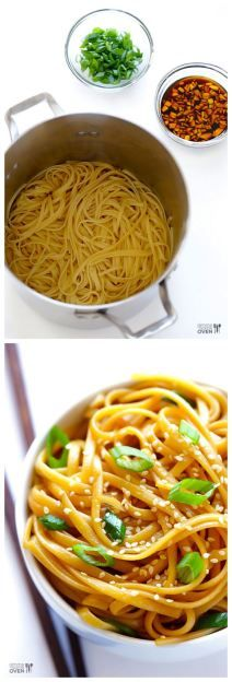 Easy Sesame Noodles -- these make the perfect hot (or cold!) side dish, or add some grilled meat and veggies to turn them into a full meal!   gimmesomeoven.com