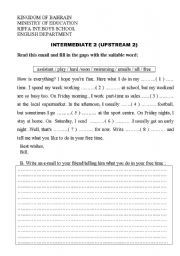 English worksheet: Reading and writing an email