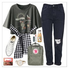 """""""Combine #6"""" by perfectgirll ❤ liked on Polyvore featuring Topshop, Converse, Fjällräven, Too Faced Cosmetics, Maybelline, like, comment and sportstyle"""