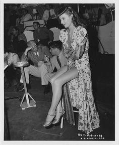 Barbara Stanwyck in Ball of Fire.
