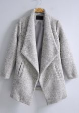 Light Grey Lapel Long Sleeve Pockets Coat $75.81