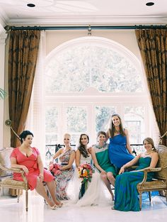 mixed color bridesmaid dresses, Vanity Fair poses, jewel tones, glamorous vintage bohemian wedding, film photography, Image by Reg Campbell