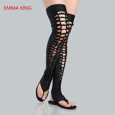 2019 Fashion Women Gladiator Sandals Black Leather Hollow Roman Flat Sandals Sexy Dancing Party Shoes Woman Cutout Over The Boot Thigh High Sandals, Sexy Sandals, Thigh High Boots, Flat Sandals, Women Sandals, Flats, Chelsea Boots Heel, Black Over Knee Boots, Summer Boots